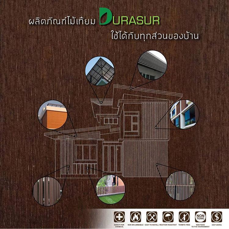 ผลิตภัณฑ์ไม้เทียม Durasur ใช้ได้กับทุกส่วนของบ้าน